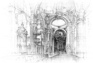 Wnętrze kościoła ołówkiem
