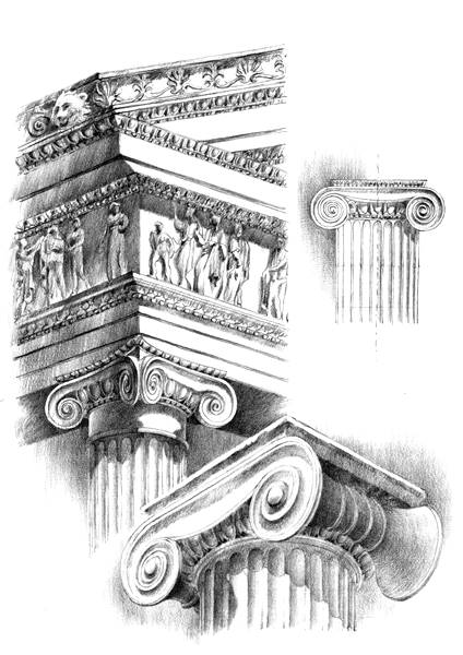 rysunek architektoniczny styl joński
