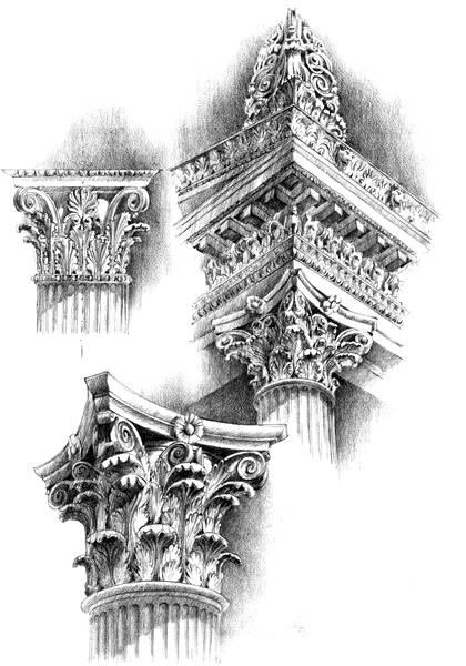 rysunek architektoniczny styl koryncki