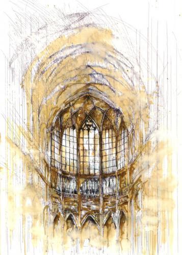 Wnętrze kościoła akwarelą