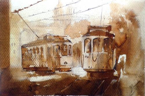Tramwaje akwarelą