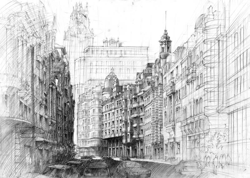 rysunek w perspektywie - miasto
